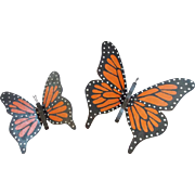 Pair of Vintage Mid 20th Century Primitive Folk Art Wall Art Monarch Butterflies