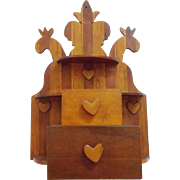 Unusual Vintage Hand Made Southern Folk Art Wall Box with Hearts, Tulip, and Sea Serpents