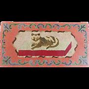 Vintage Hand Made Folk Art Recumbent Cat  Hooked Rug