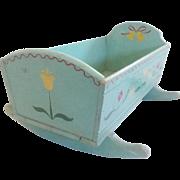 Vintage Folk Art PA. Dutch Style Blue Doll Cradle  w/Flowers & Bells Decoration