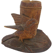 Early 1900's Hand Carved Folk Art Bird & Barrel Inkwell or Toothpick Holder
