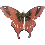 Unusual Vintage Mid 20th C. Kentucky Folk Art Dusty Pink Articulated Butterfly