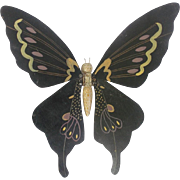 Unusual Vintage Mid 20th C. Kentucky Folk Art Black Articulated Butterfly