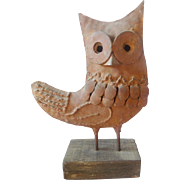 Vintage Primitive Folk Art Iron Owl Sculpture