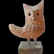 Vintage Primitive Folk Art Iron Owl Sculpture