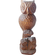 Vintage Folk Art Carving of Mama Owl & 2 Babies
