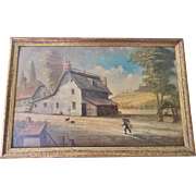 19th C. Folk Art Farm Landscape Painting With House, Barn, Man, Dogs, Well, & Shed