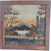 Early 1900's Folk Art Mountain Landscape Painting of Man, Dog, & Sailboats