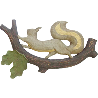 Vintage Hand Carved & Painted Folk Art Gray Squirrel on Branch Wall Hanging