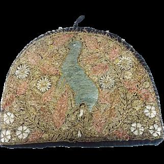 Vintage Folk Art Tea Cozy With Silk & Metallic Thread Deer & Flower Design