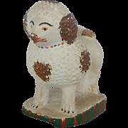 Antique PA. Primitive Folk Art Chalkware Poodle