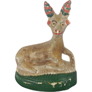 Antique PA. Primitive Folk Art Chalkware Deer