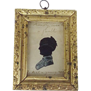 Antique C. 1830's Hand Painted Folk Art Silhouette of Young Widow With Personal Inscription