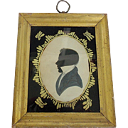 Antique 1830's Hollow Cut & Hand Painted Folk Art Silhouette of Young Gentleman