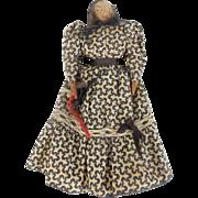 Vintage Primitive Folk Art Walnut Head Wood Pioneer Doll w/Flax Hair