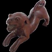 Miniature Vintage Folk Art Wood Carving of a Barking Dog