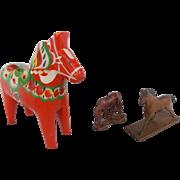 Group of 3 Vintage Folk Art Horse Carvings, inc. Swedish Dala Horse