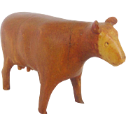 Miniature Vintage Naive Primitive Folk Art Cow Carving