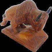 Signed Vintage Folk Art Buffalo Carving