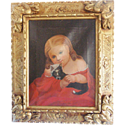 """19th. C. Antique Victorian Folk Art Painting of Beautiful Young Girl & Cat Titled """"Kitty Darling"""""""