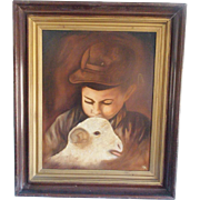 Vintage Naive Folk Art Painting of Young Boy & Lamb