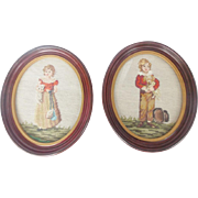 Pair of Vintage Needlepoint Depictions of Young Girl & Kitten, Boy & Puppy