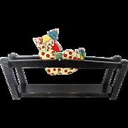 Vintage Folk Art Painted Tumbling Clown Toy