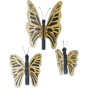 Trio of Vintage Primitive Folk Art Wall Art Yellow Butterflies