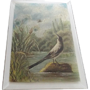 Vintage Painting on Beveled Glass of Bird & Butterfly in Marsh