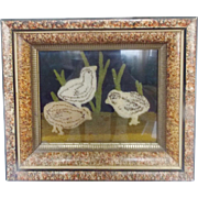 Early 1900's Framed Stumpwork Picture of 3 Baby Chicks on Blue Velvet From My Collection