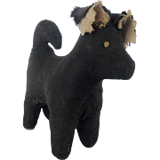 Tiny Antique PA. Mennonite Folk Art Black Dog Pin Cushion Whimsy Just for Nice