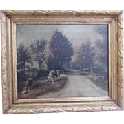"Antique Signed ""Shea"" & Dated ""16""  Folk Art Oil Painting on Canvas of 2 cows By Country Road"