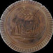 Vintage Primitive Folk Art Cow Design Butter Print Stamp