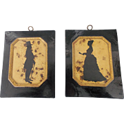 Pair of Vintage Folk Art  Silhouettes of Victorian Man & Woman in Handmade Frames