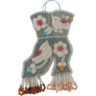 Early 1900's Native American Beaded Folk Art Boot Whimsy with Birds From My Collection