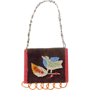 Whimsical Early 1900's Native American Bird Design Beaded Pouch Bag  From My Collection