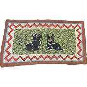 Vintage Hand Made Folk Art Hooked Rug with Scottie Dogs Design