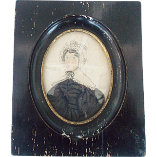 Antique C. 1820's Folk Art Watercolor Miniature Portrait - Young Woman in Puffy Sleeved Dress