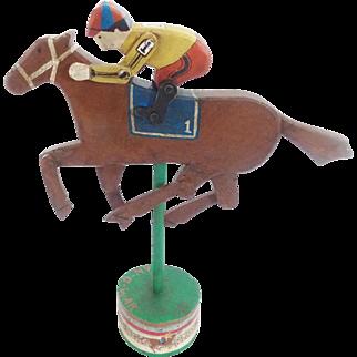 """Folk Art Articulated """"Man O War"""" Racing Horse & Rider on Stand"""