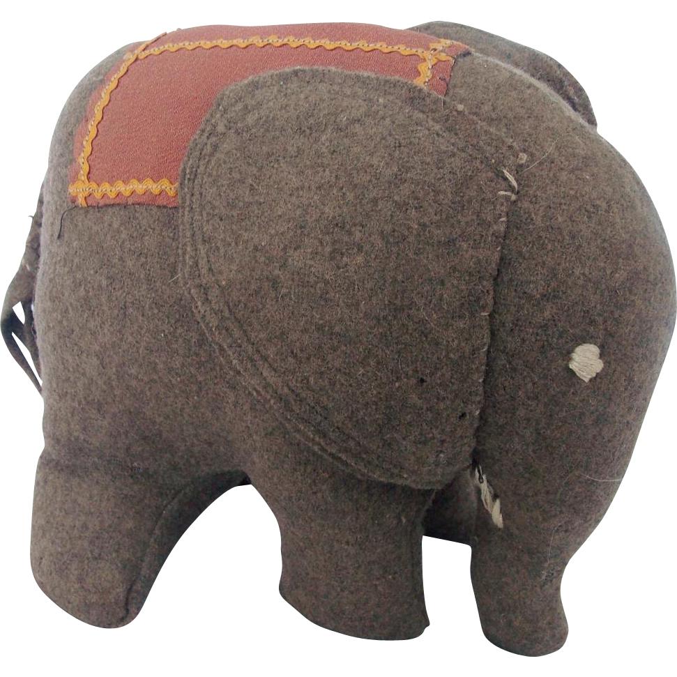 Vintage Hand Made Folk Art Elephant Stuffed Toy