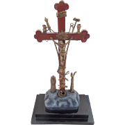 Old Folk Art Carved Wooden Crucifix with Metal Symbols of the Crucifixion