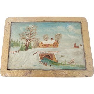 Vintage Primitive Folk Art Winter Scene Painting on Child's School Slate