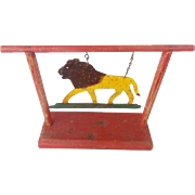 Vintage Signed and Dated 1963 Folk Art Cut Iron Lion Target on Wood Stand