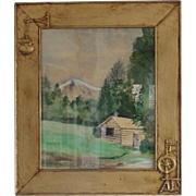 Vintage Naive Folk Art Signed Mountain Scene Watercolor in Unique Frame(Reserved)