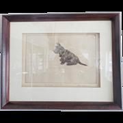 "Vintage Signed ""Bill Harley"" Folk Art Drawing of Scottie Dog Titled ""My Dog Tammy"""