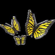 Trio of Vintage Folk Art Yellow & Black Butterflies in Superb Condition
