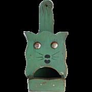 Vintage Primitive Folk Art Green Painted Cat Match Holder
