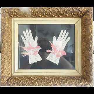 Pair of Folk Art Bird in Hand Woven Paper Cuttings in Fancy Vintage Frame