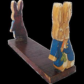 Vintage Folk Art Painted Peter Rabbit Folding Book Holder