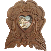 Late 19th C. Hand Carved Victorian Folk Art Frame With Heart Opening